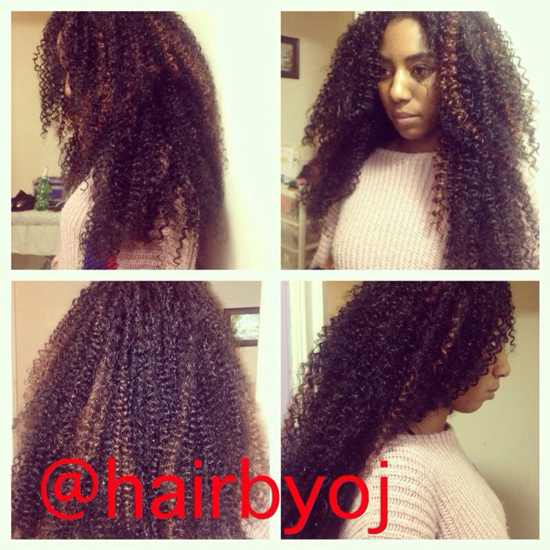 Waist length tightly coiled crochet braids with leave out