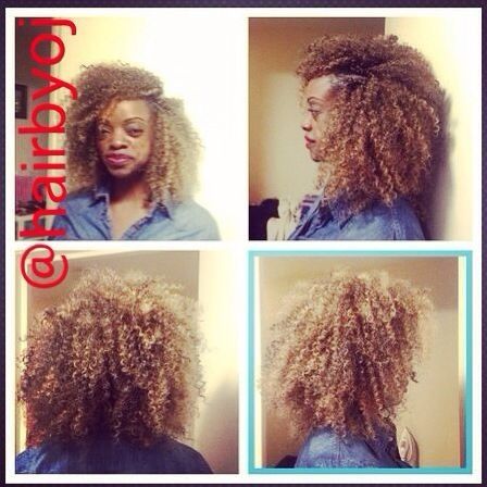 Crochet Braids Blonde : ... tightly curled crochet braids with side parting and blonde highlights