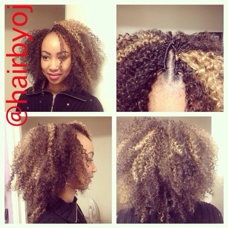 Vixen Crochet Box Braids : Shoulder length tightly curled crochet braids with side parting ...