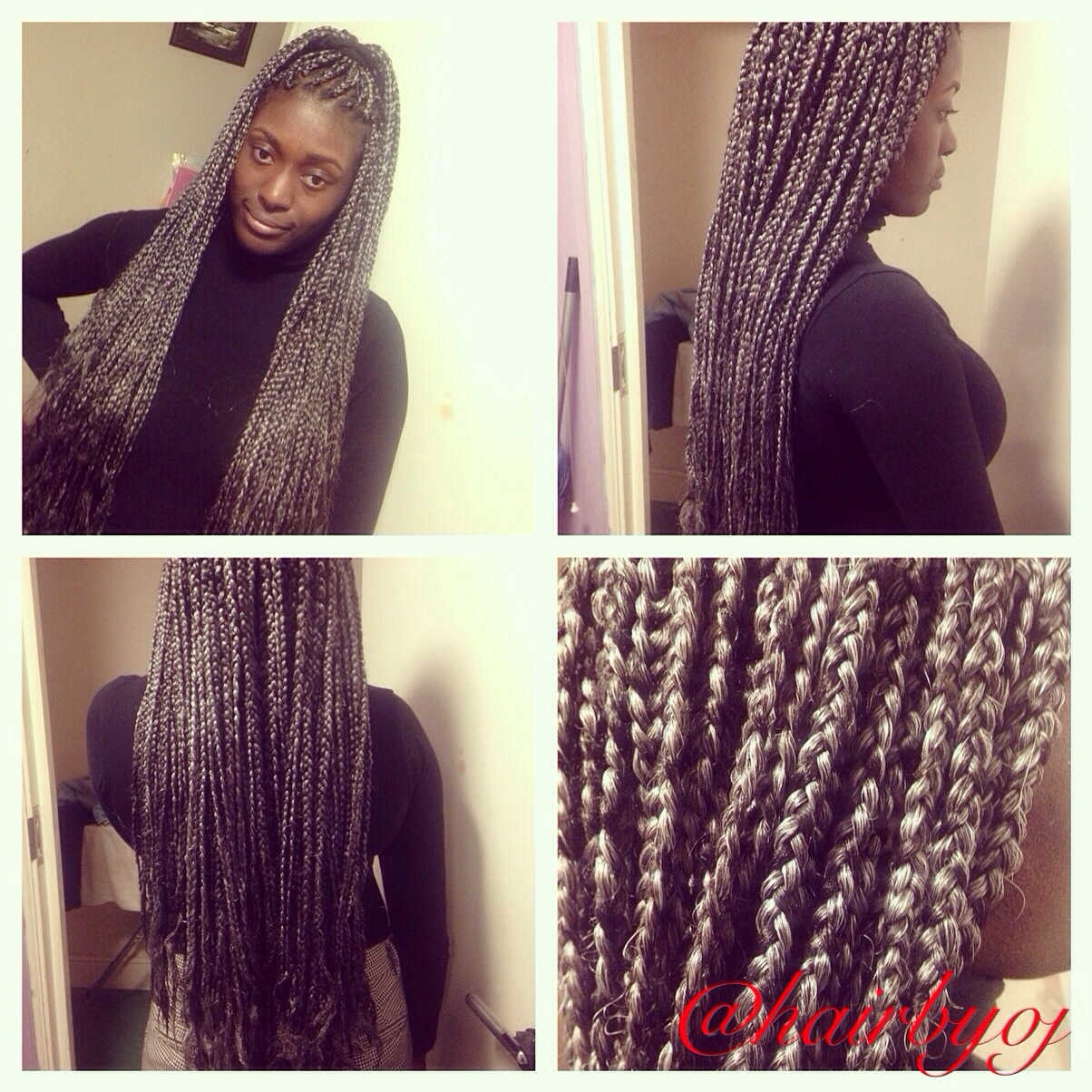 Bottom length grey and black box braids « hairbyoj