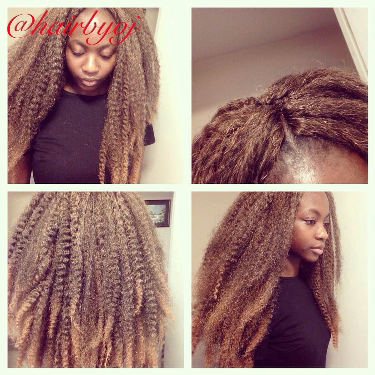 Crochet Hair Blonde : Waist length ombre crochet braids with Marley hair and middle ...