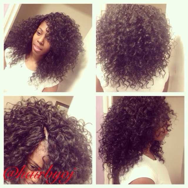 Chest length curly crochet braids with versatile side and middle ...