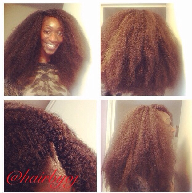 Layered Chest Length Afro Look Crochet Braids With Marley Hair