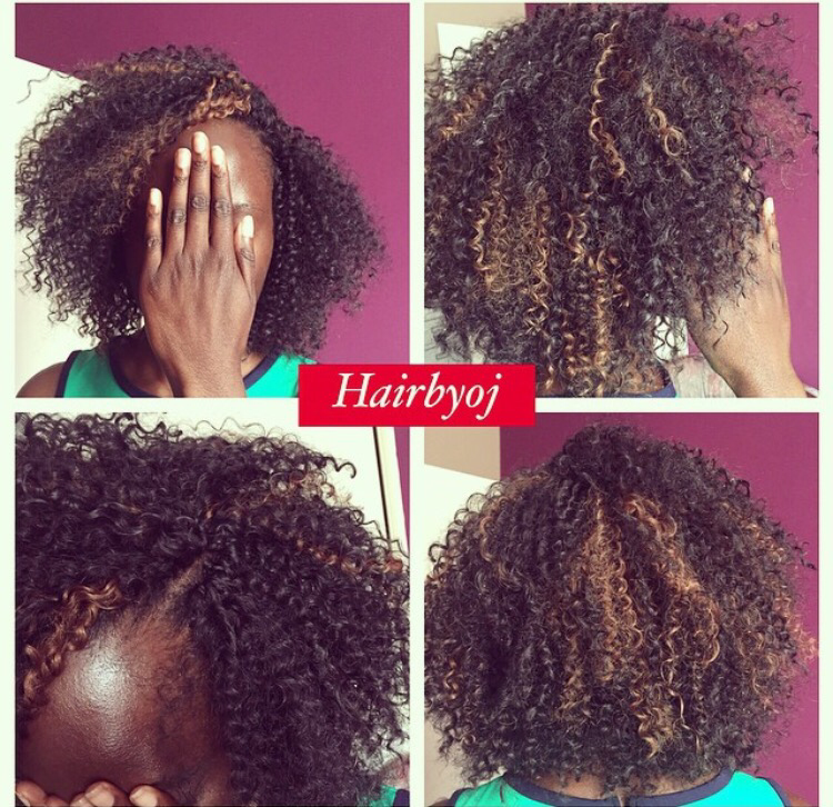 Kinky Curly Crochet Braid Bob With Knotless Parting And Blonde