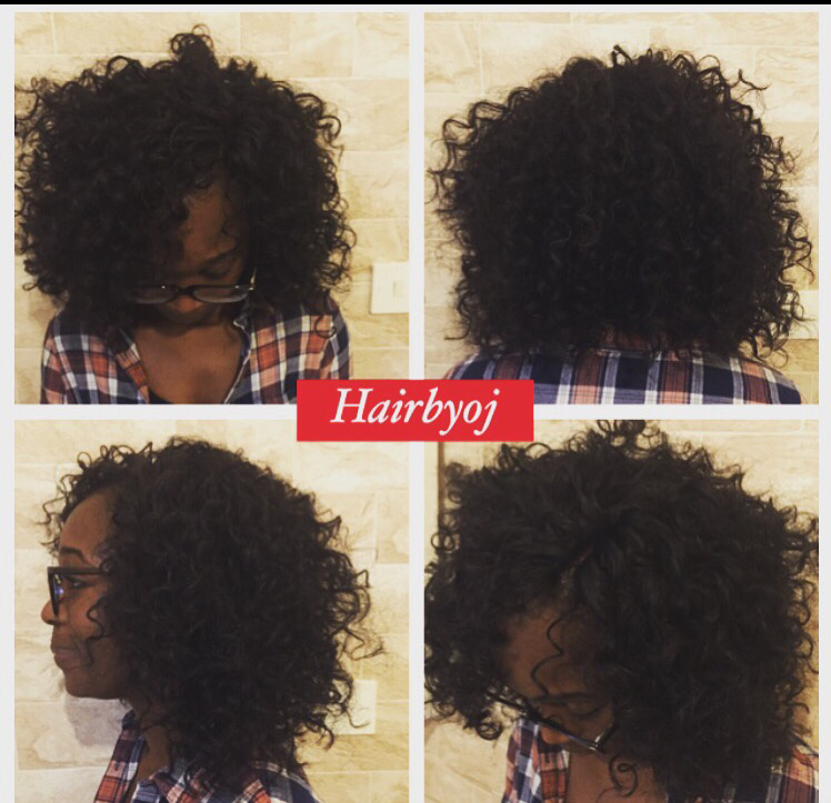Bob length curly crochet braids with knotless side parting ? hairbyoj