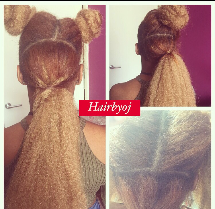 Mid Back Length 3 Way Part Blonde Vixen Crochet Braids With Relaxed Hair
