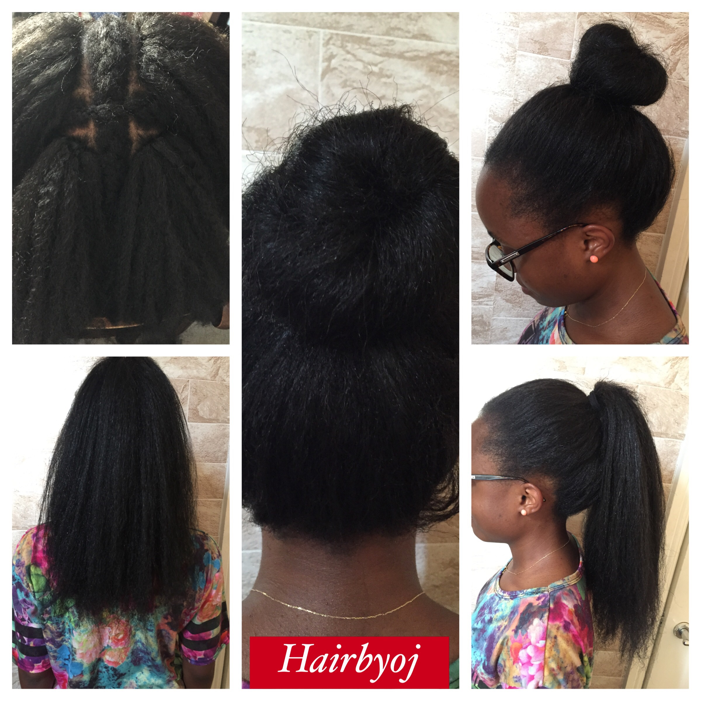 length 4 way part vixen crochet braids with blowdried Marley hair ...