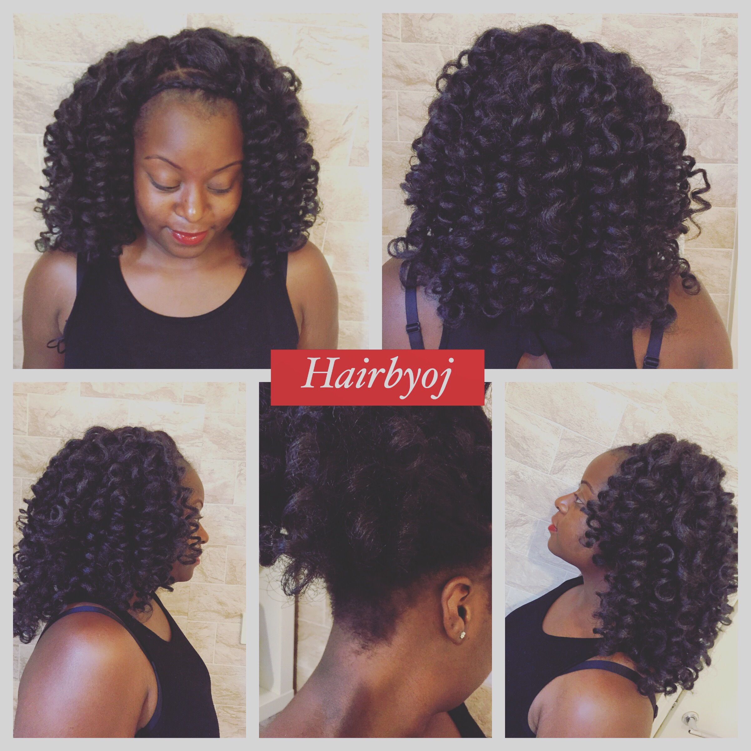 Shoulder length pre curled crochet braids with Marley hair knotless