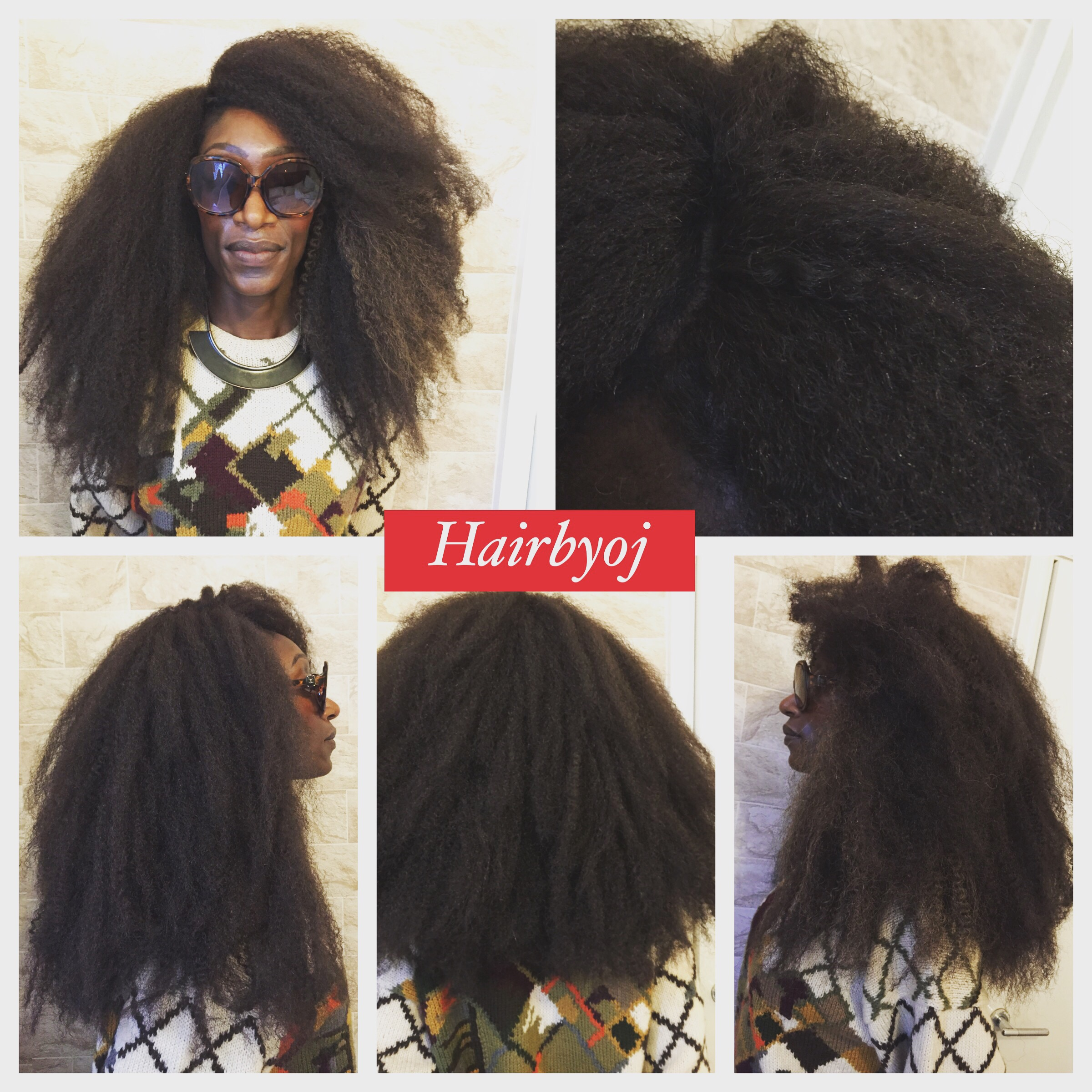Chest Length Afro Crochet Braids With Marley Hair Knotless Side
