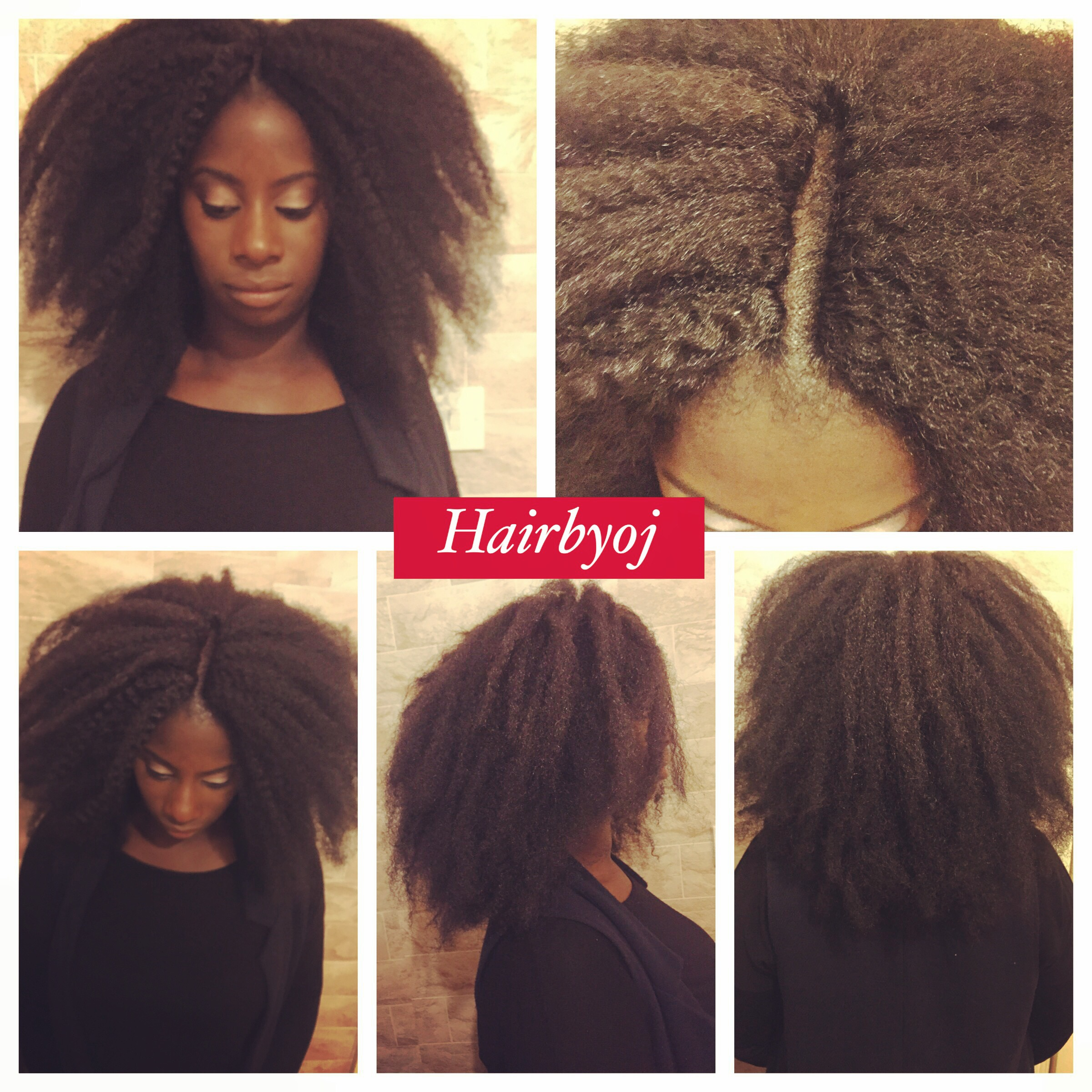 Shoulder Length Afro Look Crochet Braids With Marley Hair And