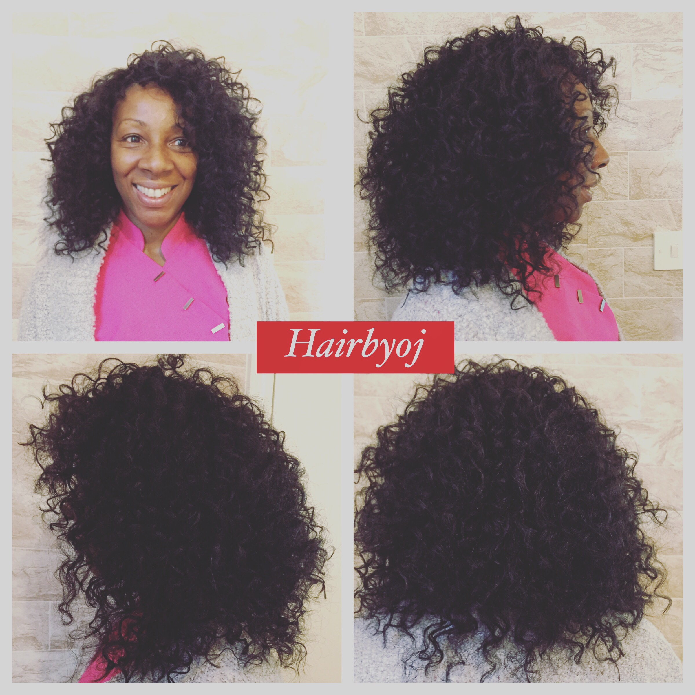 Shoulder length knot less curly crochet braids with full side fringe