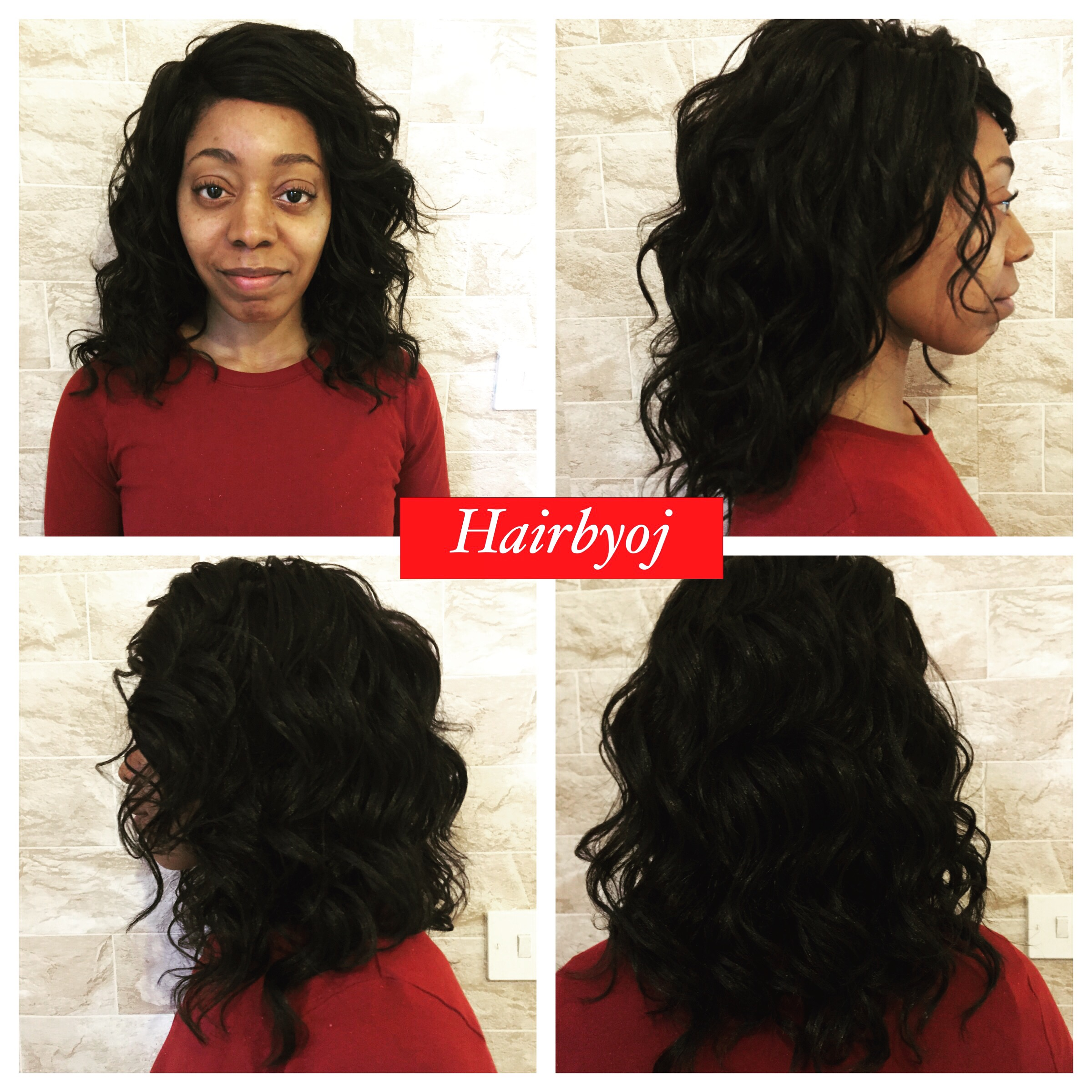Shoulder Length Loose Curl Crochet Braids With Knotless Side Parting