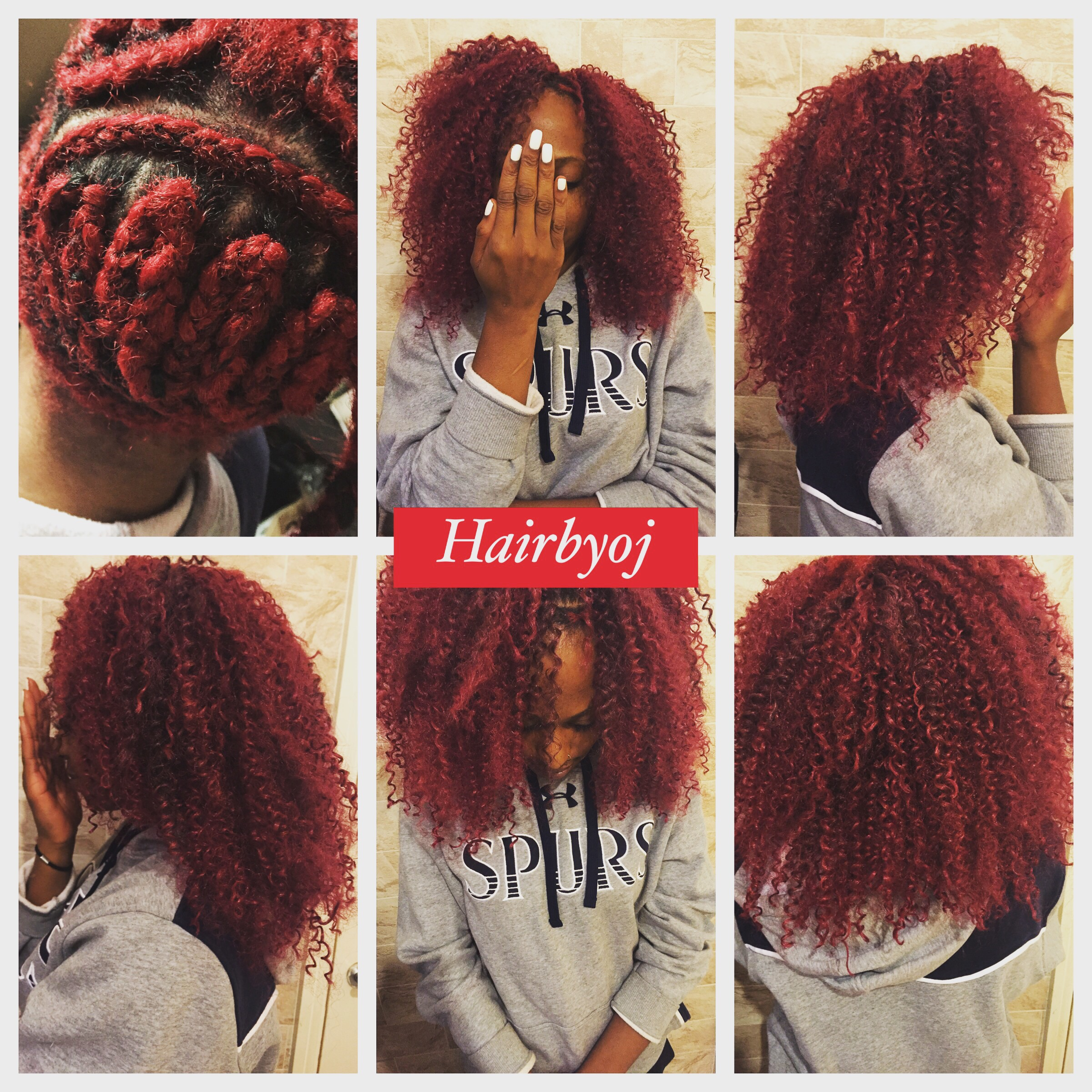 Red Shoulder Length Curly 3 Way Vixen Crochet Braids With Side