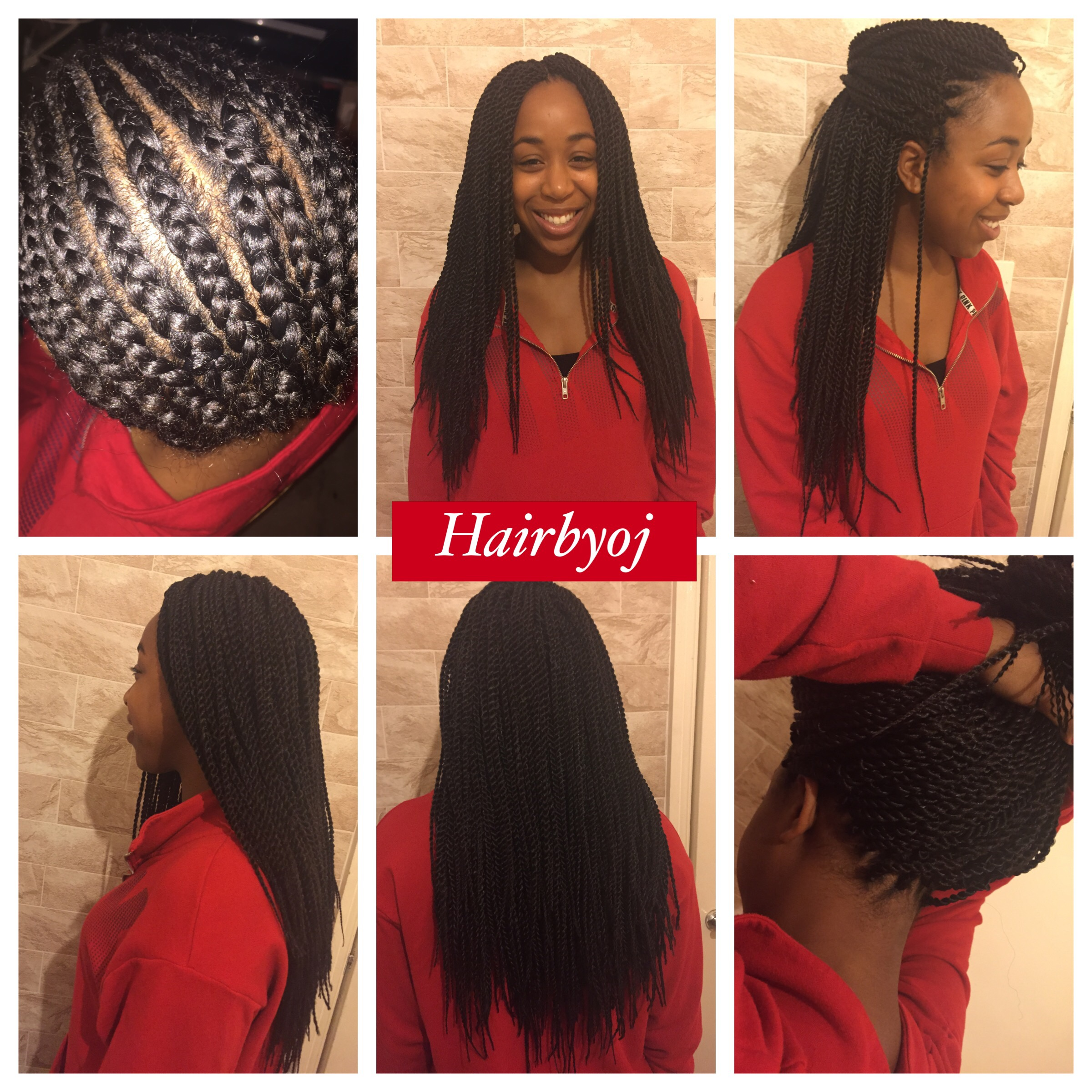 Chest Length Small Senegalese Rope Twist Crochet Braids With Middle