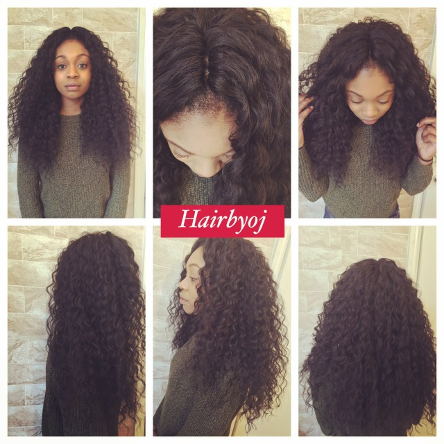 Chest length wavy crochet braids with knotless middle parting and ...
