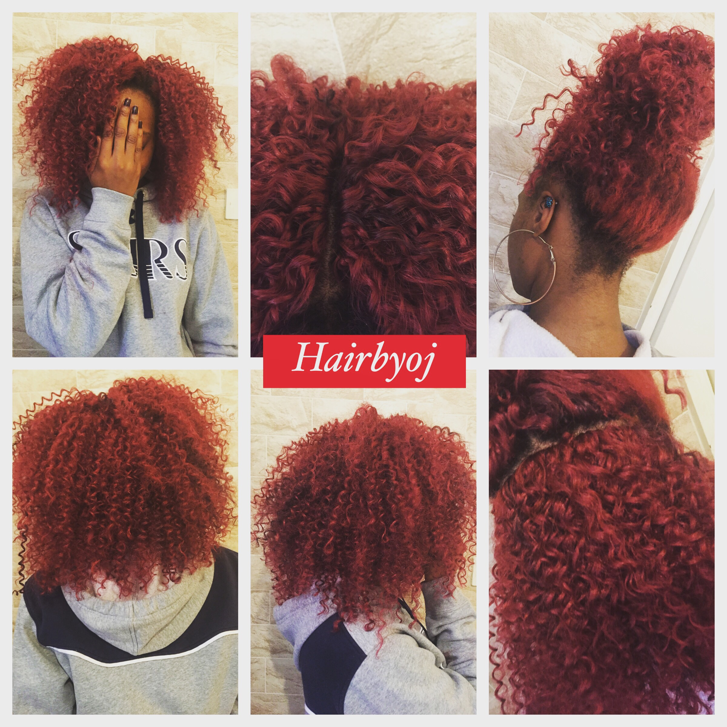 Shoulder Length Red Tight Curls Crochet Braids With Knotless Midway