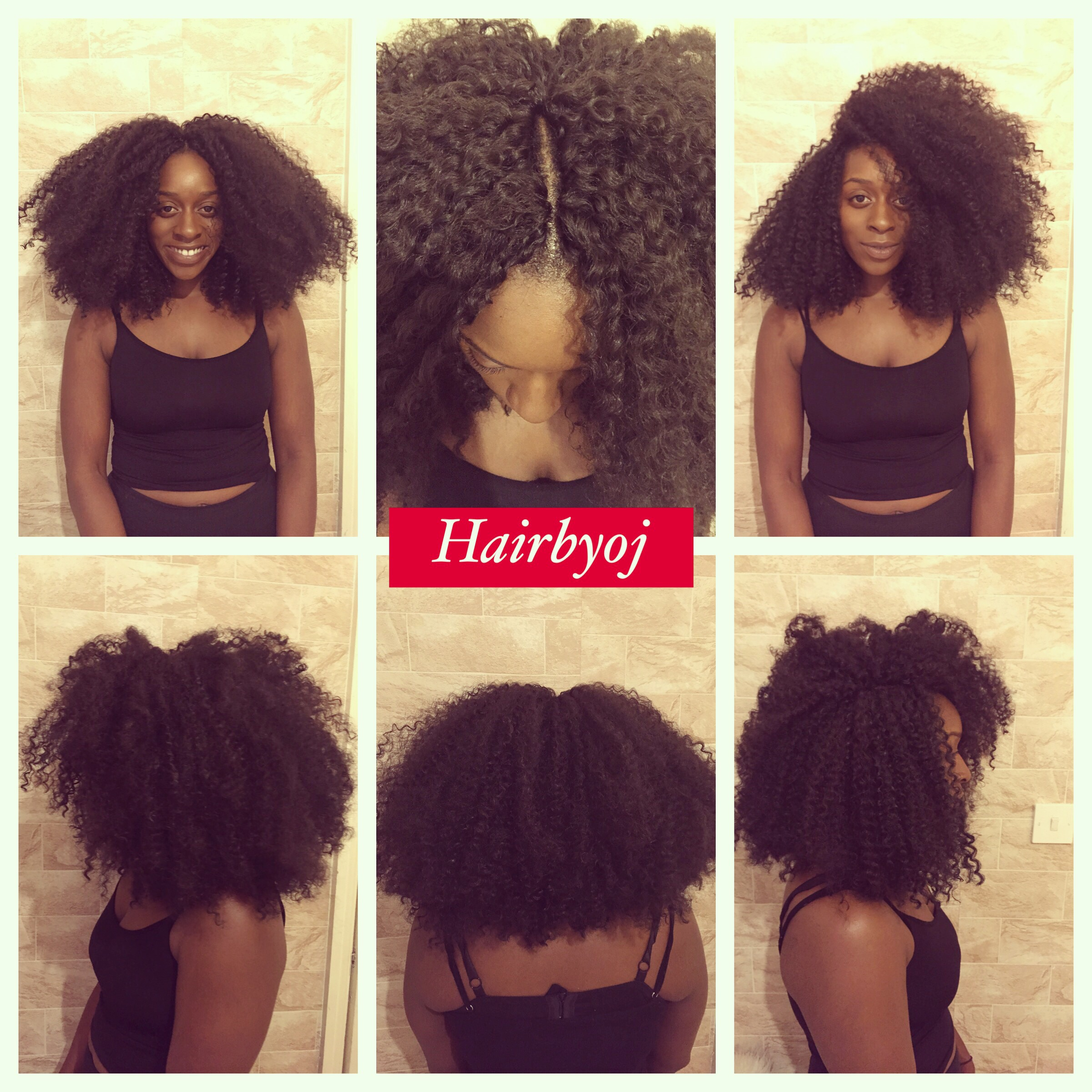 Shoulder length kinky curly blunt cut crochet braids, retro and