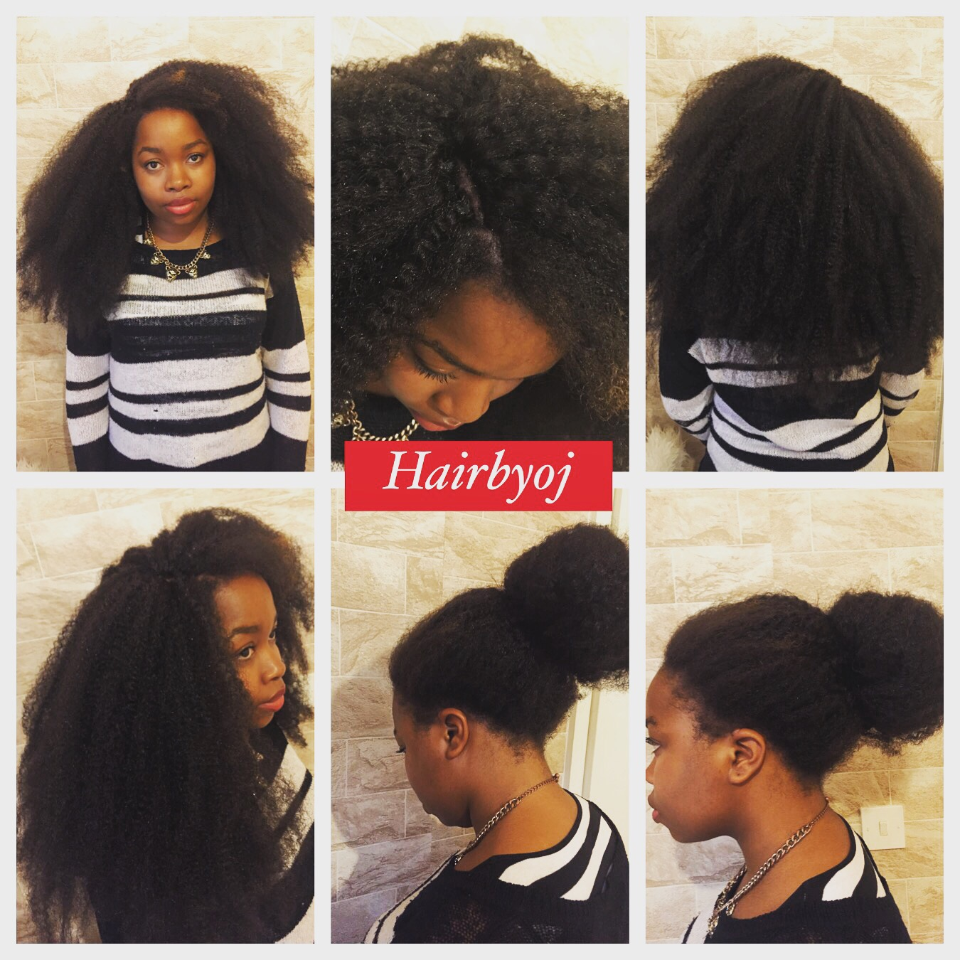 Chest Length Afro Look Crochet Braids With Knotless Side Parting And