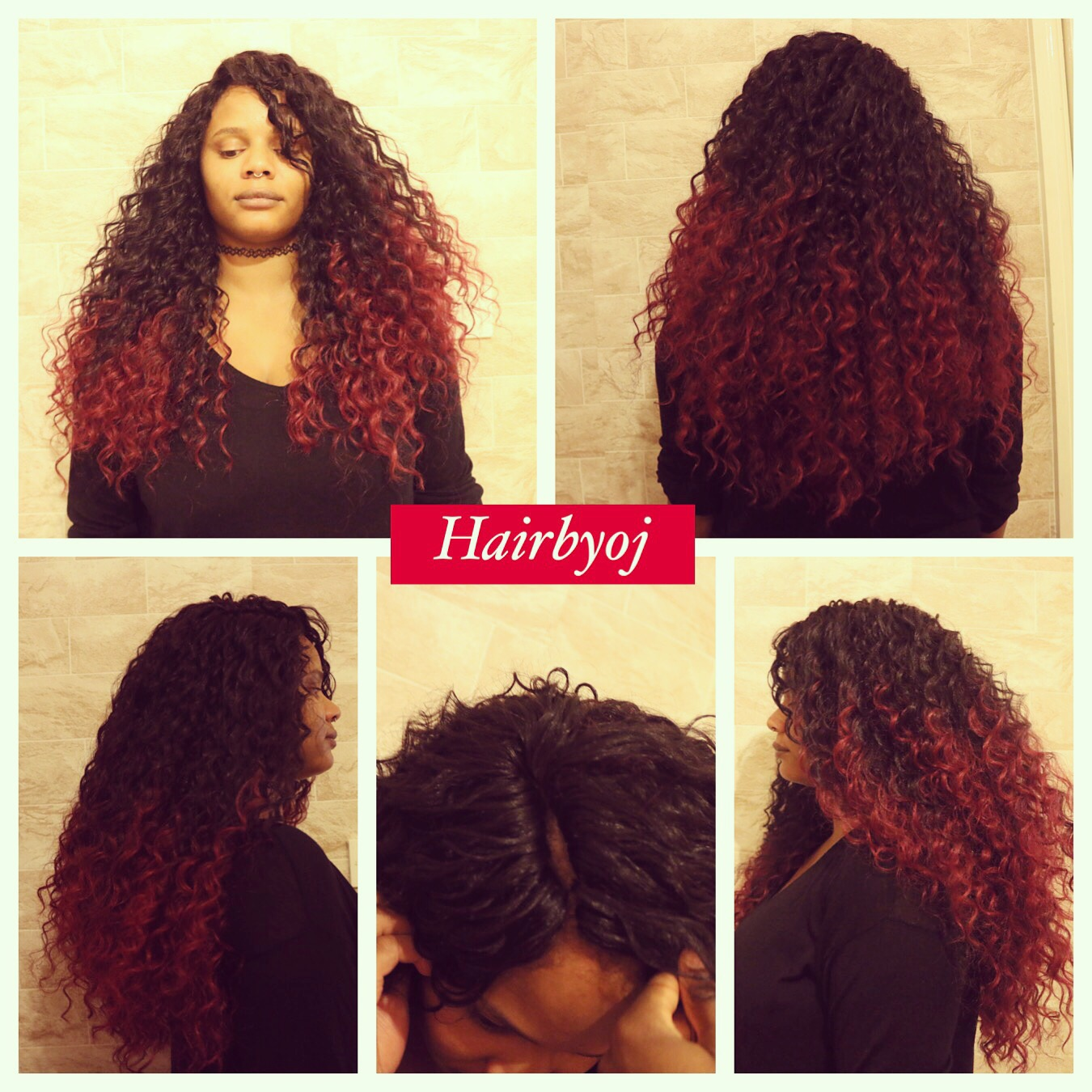 Chest Length Ombre Burgundy Crochet Braids With Knotless Side