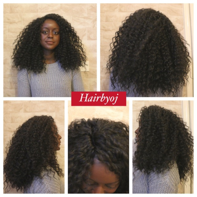 Shoulder length loose curly crochet braids with knotless side parting ...