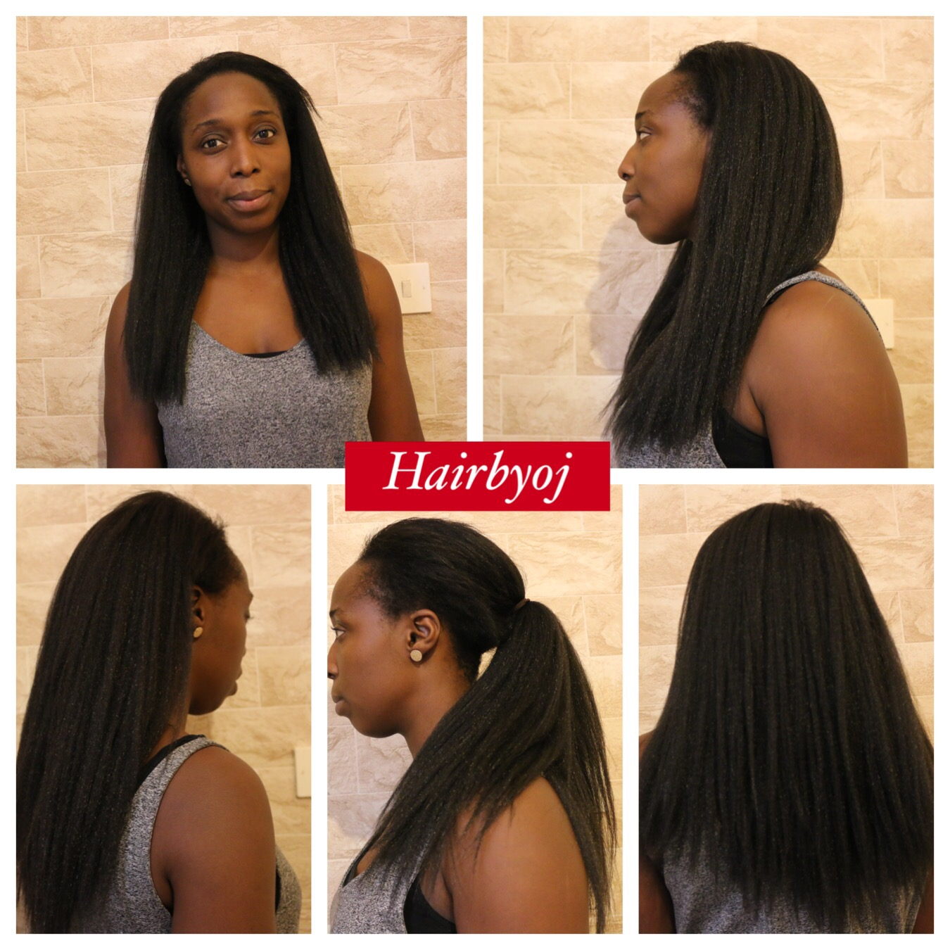 Straight Kinky Crochet Braids With Perimeter And Side Parting Leave