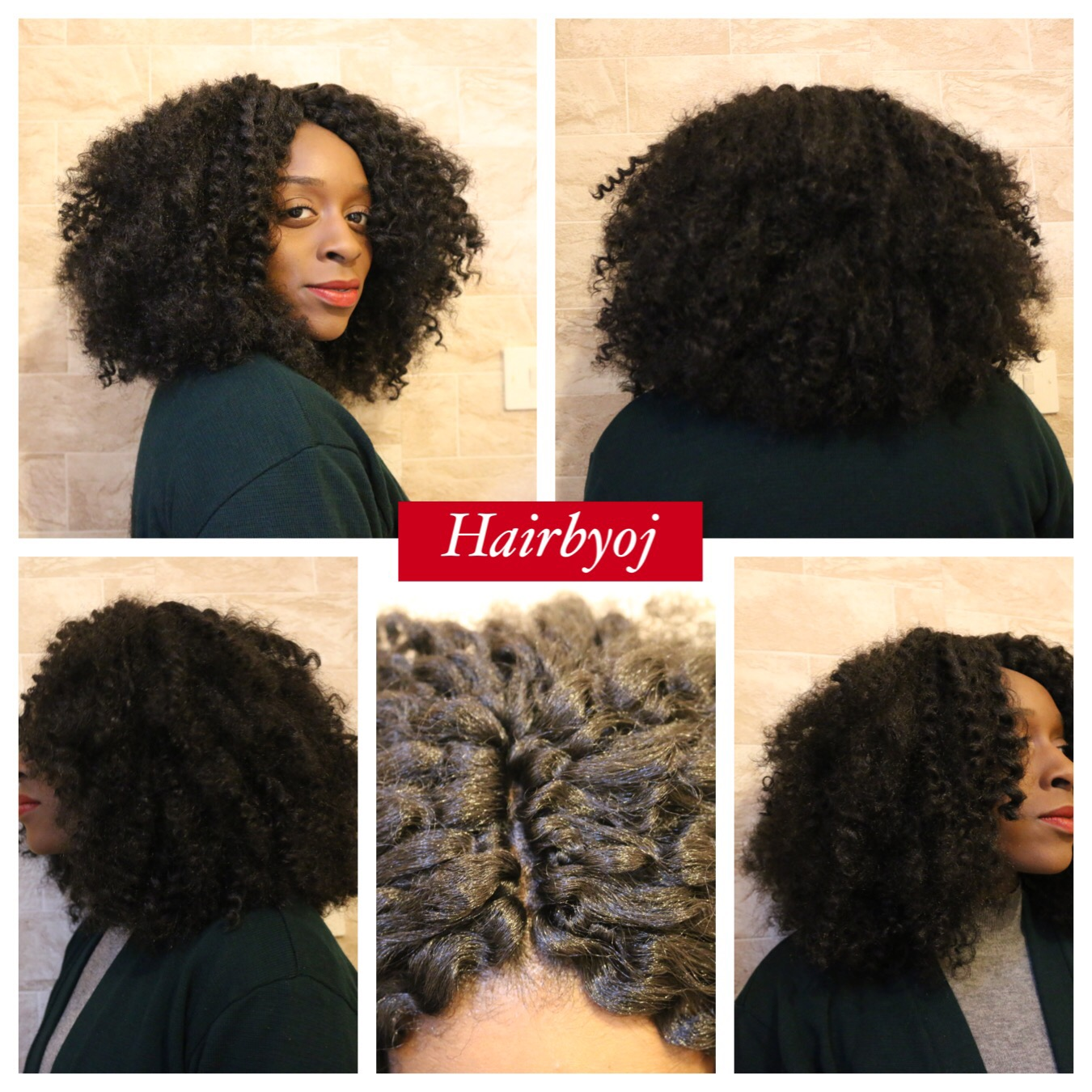 Bob Length Kinky Curly Crochet Braids With Invisible Middle Parting