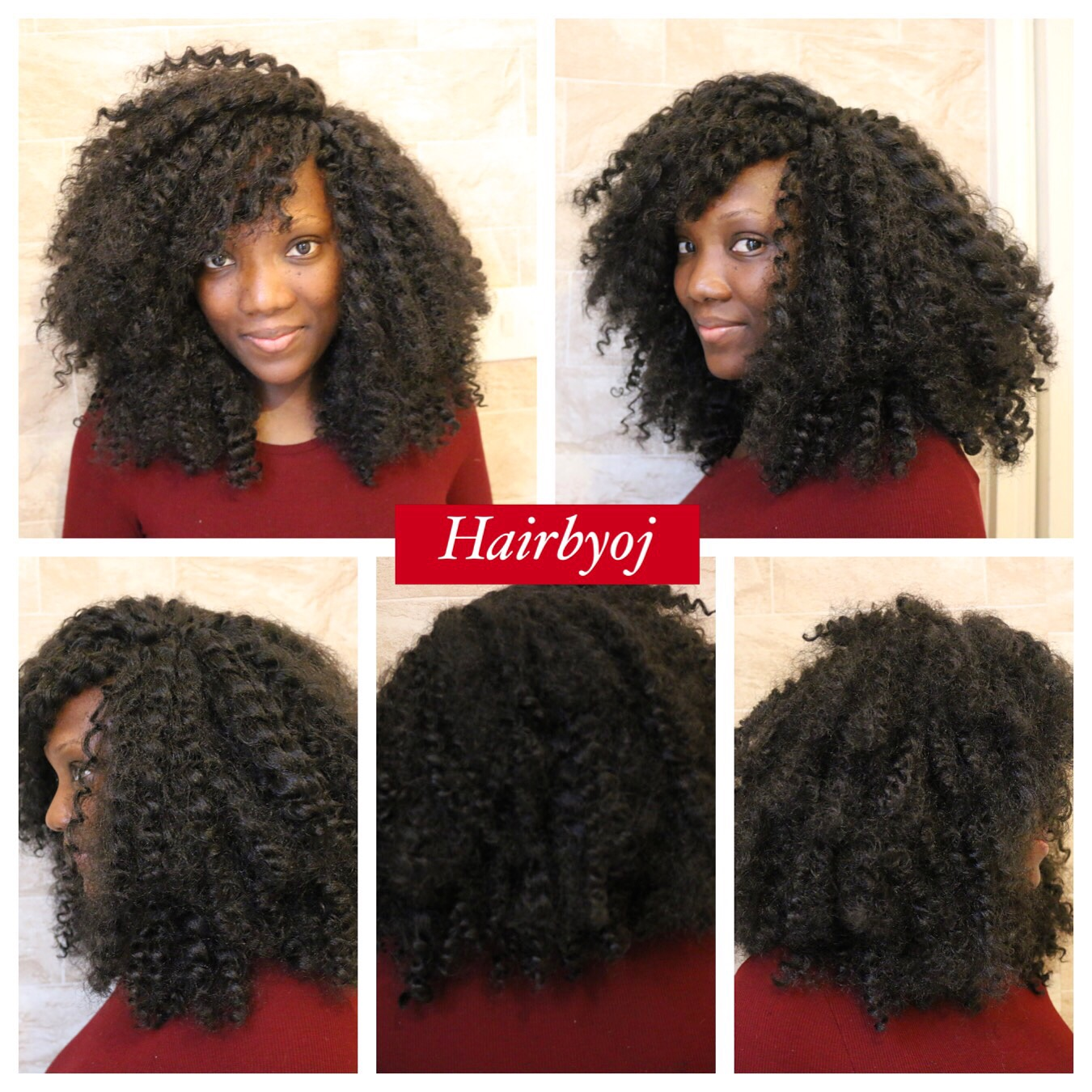 Shoulder Length Kinky Curly Crochet Braids With Invisible Side