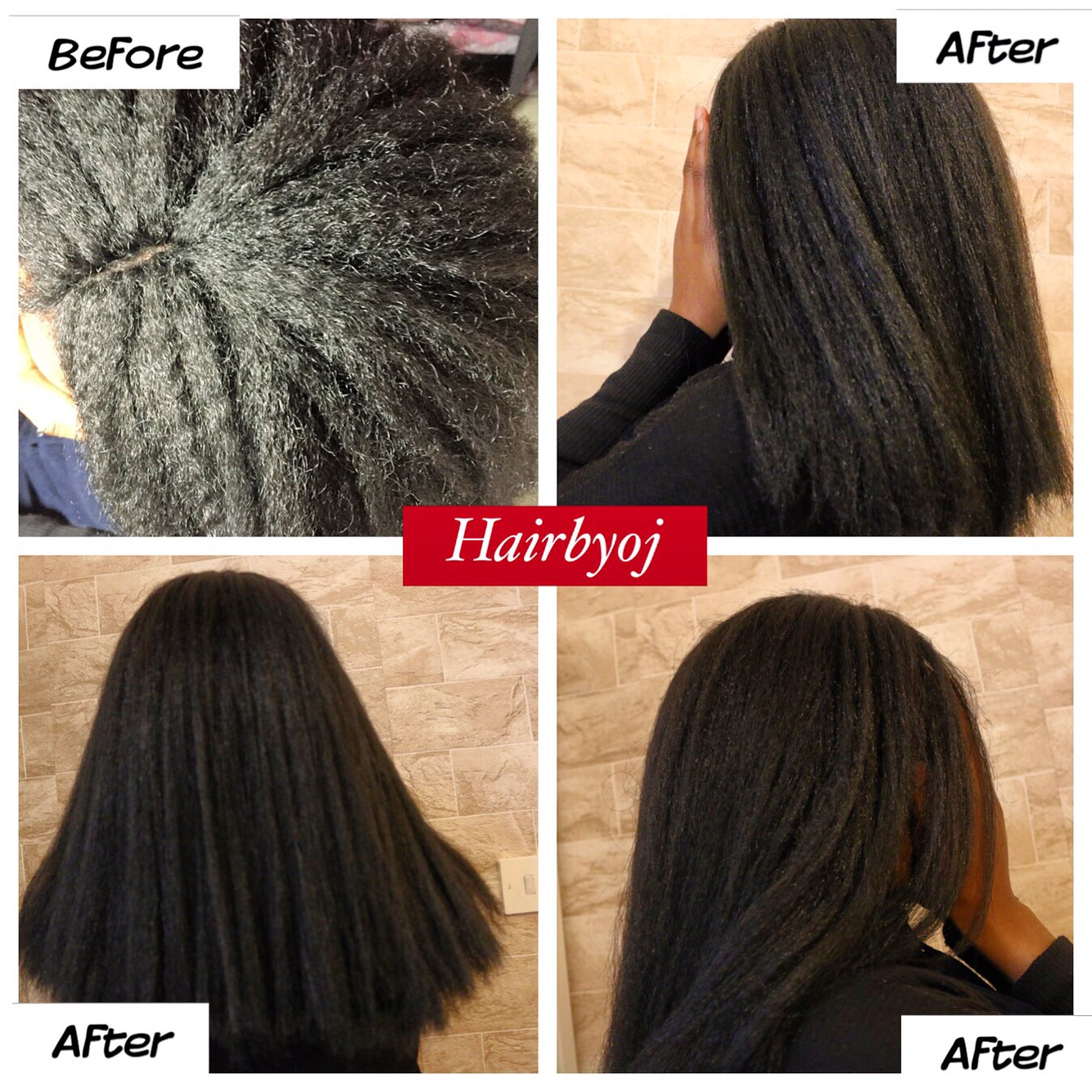 Shoulder Length Kinky Straight Crochet Braids With Invisible Middle Parting Before And After Blowdry Hairbyoj