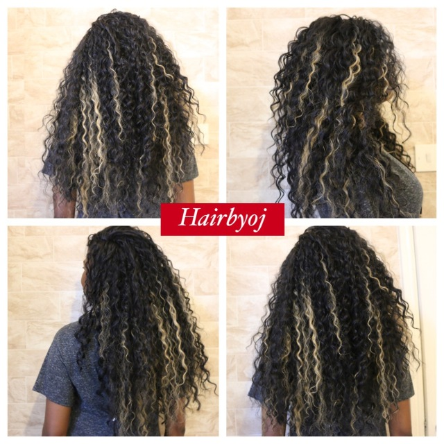 Waist Length Curly Crochet Braids With Blonde Highlights Hairbyoj